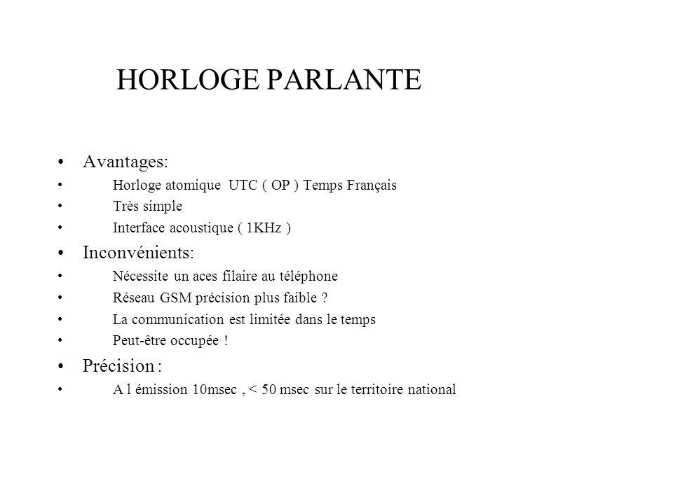 HORLOGE PARLANTE Avantages: Horloge atomique UTC ( OP ) Temps Français Très simple Interface acoustique ( 1KHz ) Inconvénients: Nécessite un aces fila