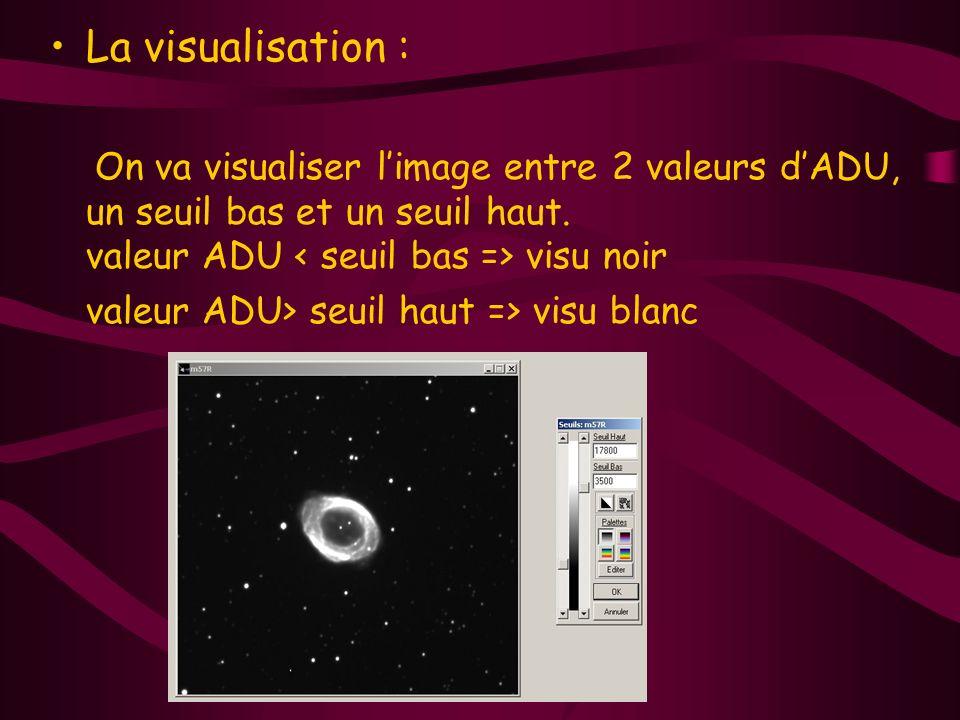 La visualisation : On va visualiser limage entre 2 valeurs dADU, un seuil bas et un seuil haut. valeur ADU visu noir valeur ADU> seuil haut => visu bl