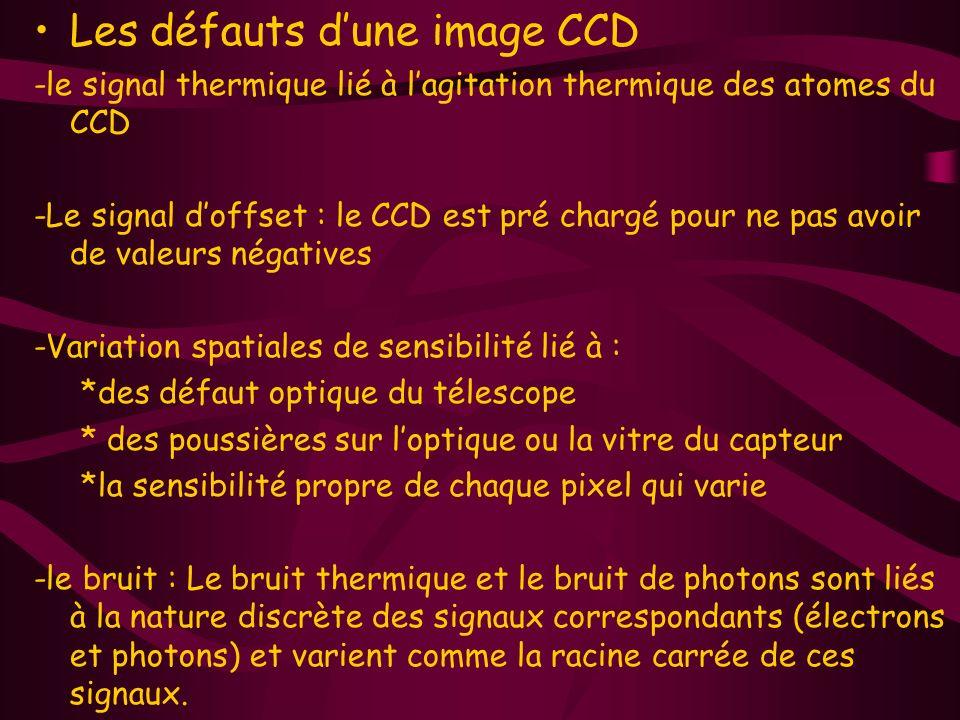 Les défauts dune image CCD -le signal thermique lié à lagitation thermique des atomes du CCD -Le signal doffset : le CCD est pré chargé pour ne pas avoir de valeurs négatives -Variation spatiales de sensibilité lié à : *des défaut optique du télescope * des poussières sur loptique ou la vitre du capteur *la sensibilité propre de chaque pixel qui varie -le bruit : Le bruit thermique et le bruit de photons sont liés à la nature discrète des signaux correspondants (électrons et photons) et varient comme la racine carrée de ces signaux.