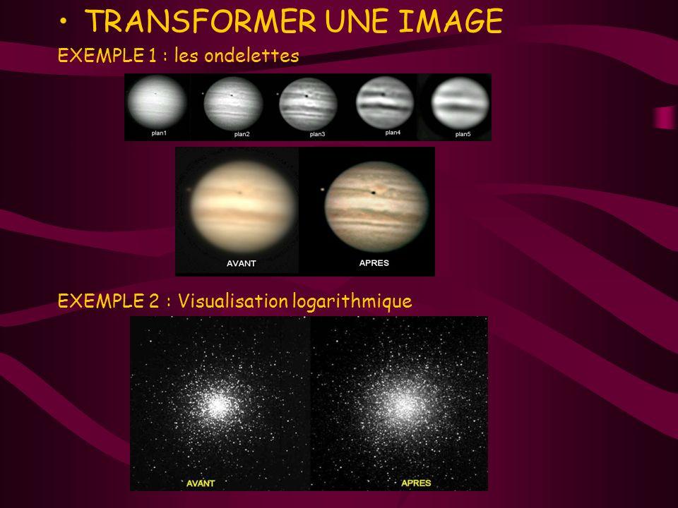 TRANSFORMER UNE IMAGE EXEMPLE 1 : les ondelettes EXEMPLE 2 : Visualisation logarithmique