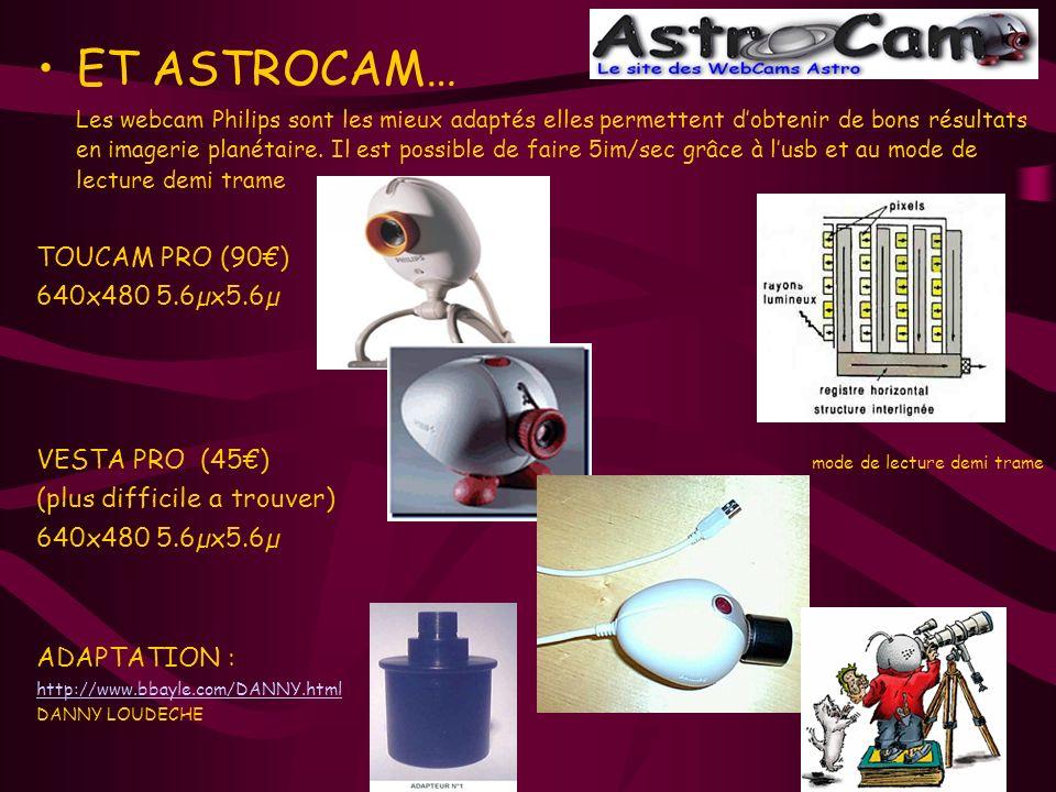 ET ASTROCAM… Les webcam Philips sont les mieux adaptés elles permettent dobtenir de bons résultats en imagerie planétaire. Il est possible de faire 5i
