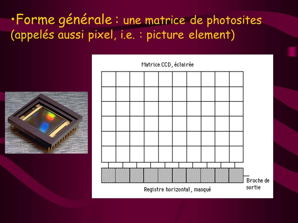 Forme générale : une matrice de photosites (appelés aussi pixel, i.e. : picture element)