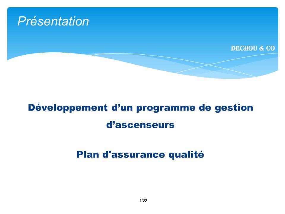 1/22 Présentation Dechou & CO Développement dun programme de gestion dascenseurs Plan d assurance qualité