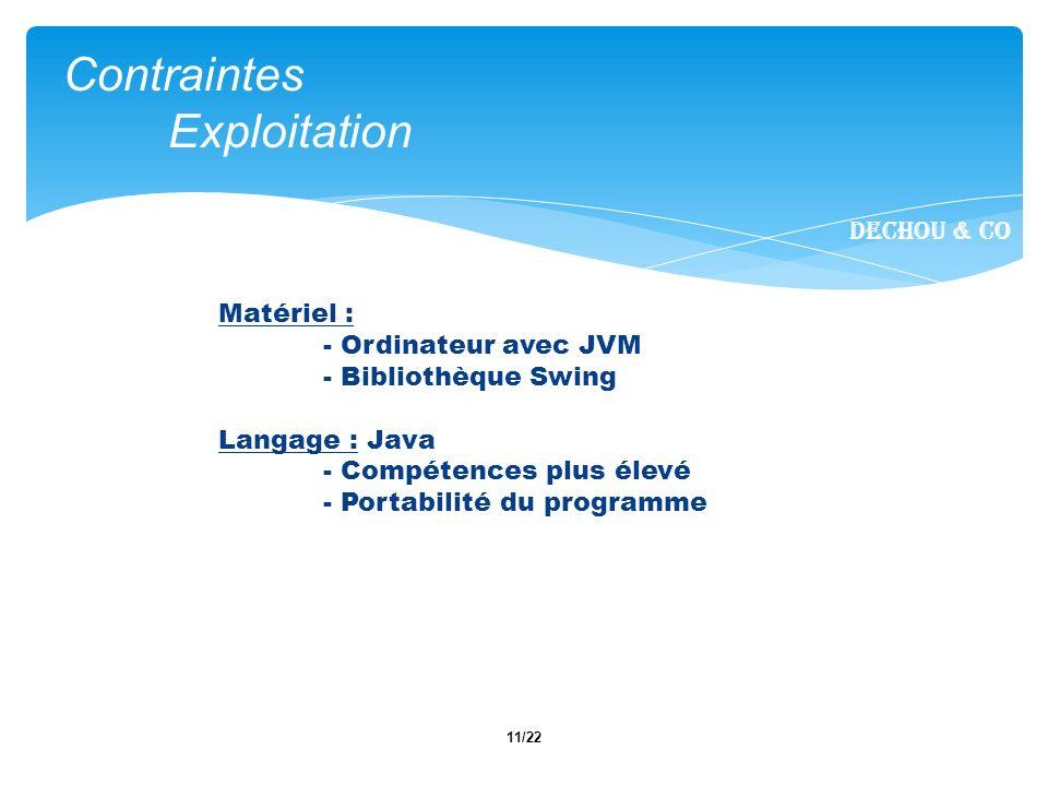 11/22 Contraintes Exploitation Dechou & CO Matériel : - Ordinateur avec JVM - Bibliothèque Swing Langage : Java - Compétences plus élevé - Portabilité