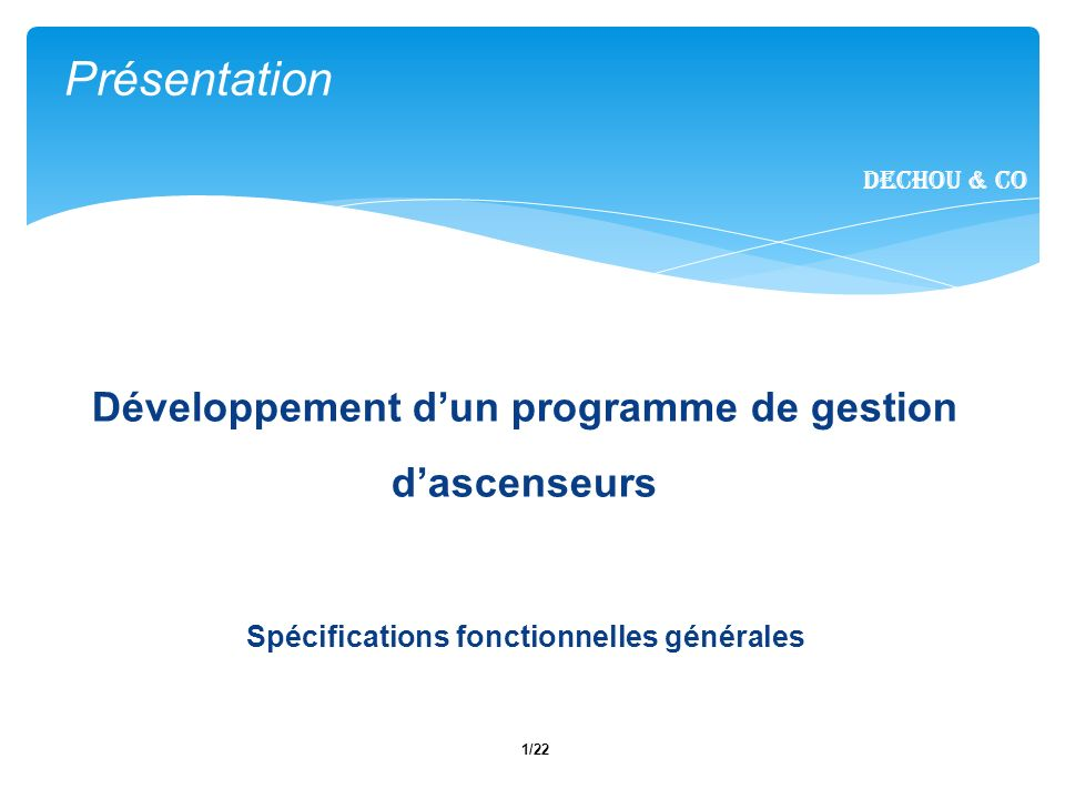 12/22 I.Introduction II. Fonctionnalités métier III.