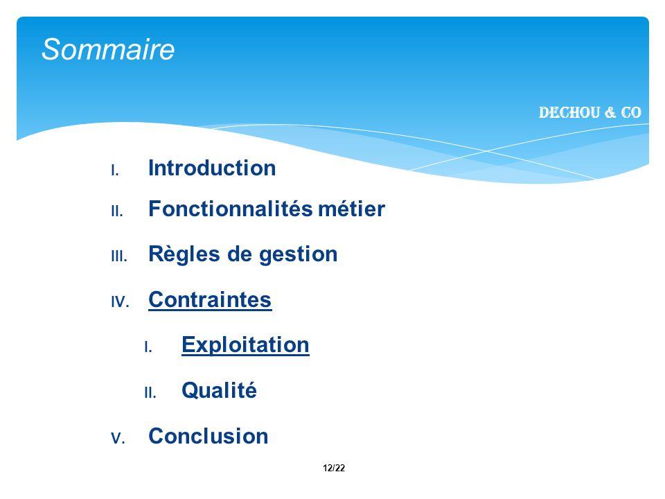 12/22 I. Introduction II. Fonctionnalités métier III.