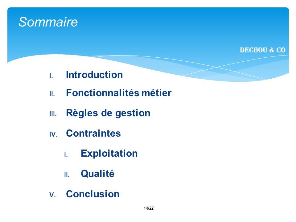 14/22 I. Introduction II. Fonctionnalités métier III.