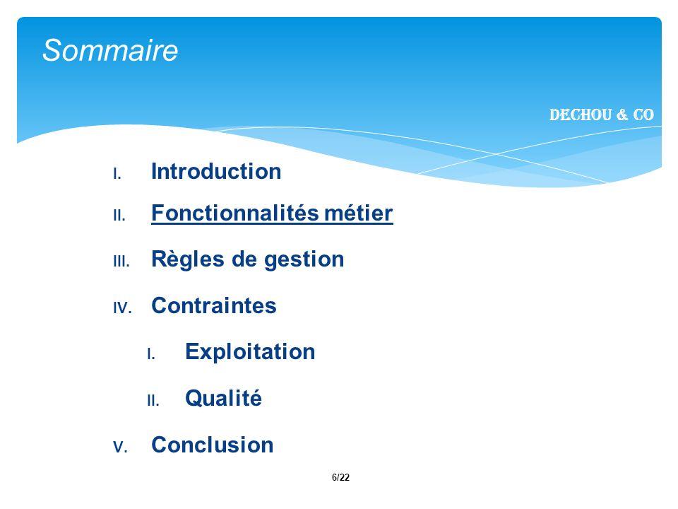 6/22 I. Introduction II. Fonctionnalités métier III.