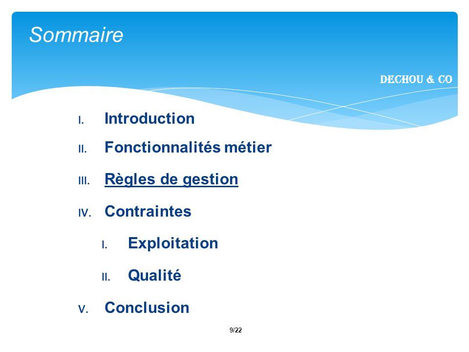9/22 I. Introduction II. Fonctionnalités métier III.