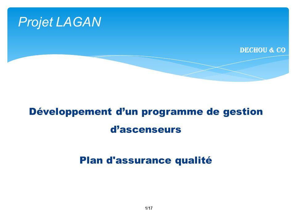 1/17 Projet LAGAN Dechou & CO Développement dun programme de gestion dascenseurs Plan d'assurance qualité