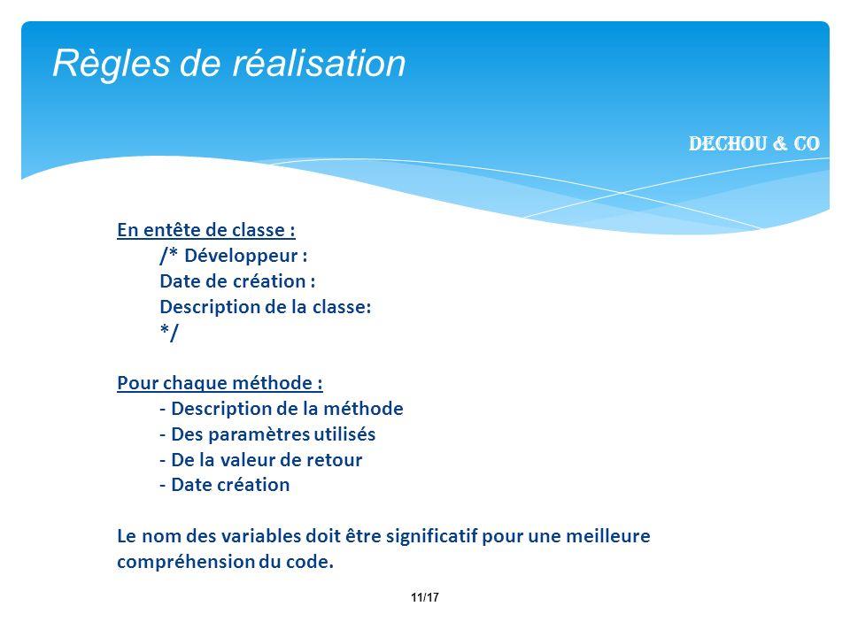 11/17 En entête de classe : /* Développeur : Date de création : Description de la classe: */ Pour chaque méthode : - Description de la méthode - Des p