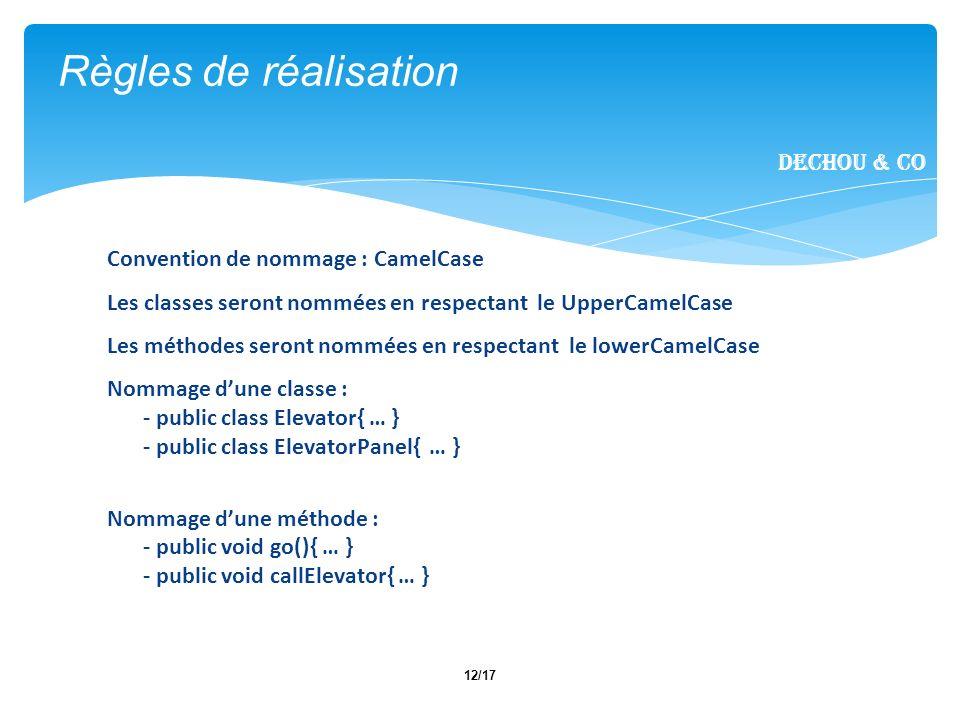 12/17 Règles de réalisation Dechou & CO Convention de nommage : CamelCase Les classes seront nommées en respectant le UpperCamelCase Les méthodes sero