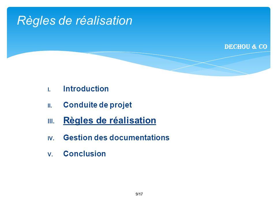 9/17 I. Introduction II. Conduite de projet III. Règles de réalisation IV. Gestion des documentations V. Conclusion Règles de réalisation Dechou & CO