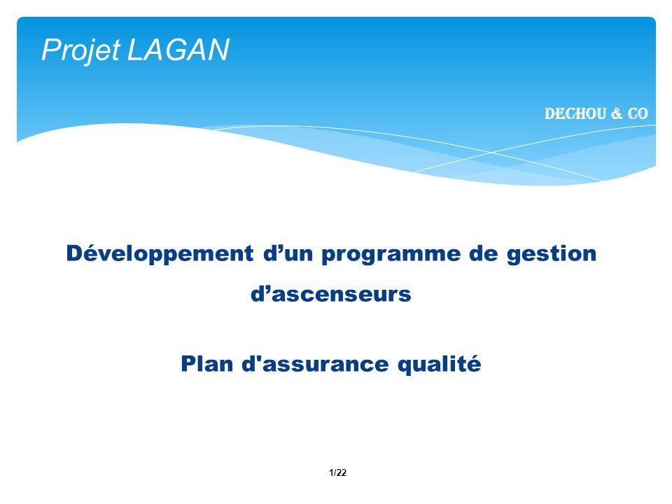 1/22 Projet LAGAN Dechou & CO Développement dun programme de gestion dascenseurs Plan d'assurance qualité