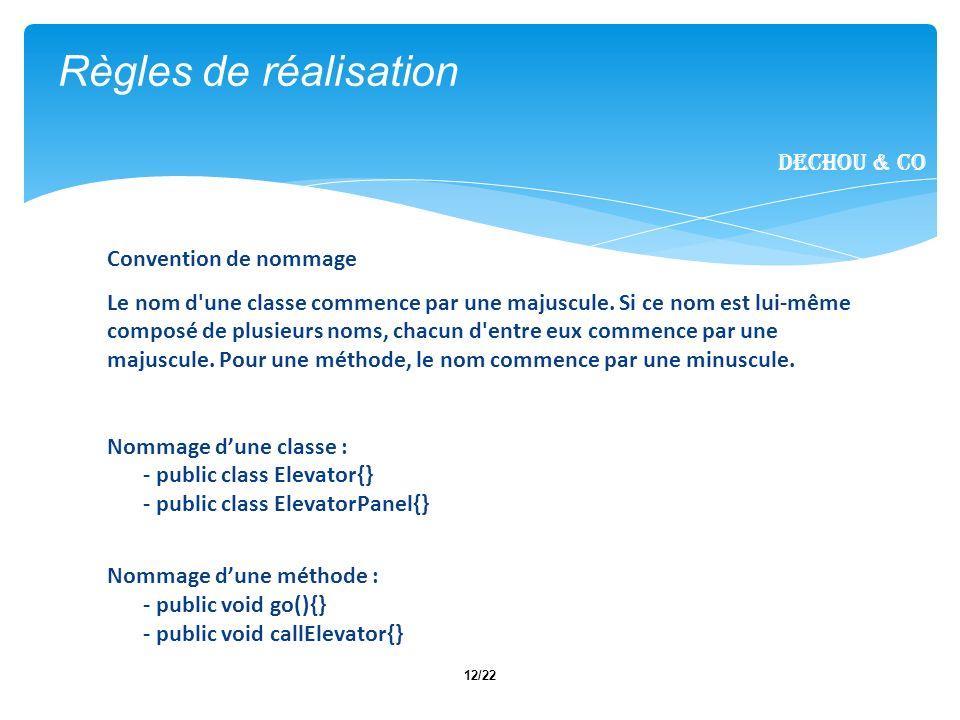 12/22 Règles de réalisation Dechou & CO Convention de nommage Le nom d'une classe commence par une majuscule. Si ce nom est lui-même composé de plusie