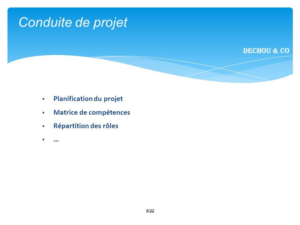 8/22 Conduite de projet Dechou & CO Planification du projet Matrice de compétences Répartition des rôles …