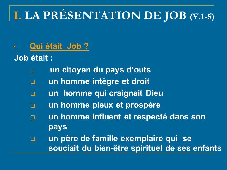I.LA PRÉSENTATION DE JOB (V.1-5) 1. Qui était Job .
