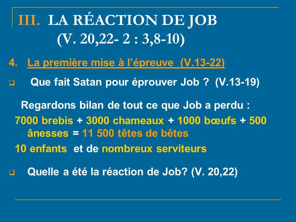 III.LA RÉACTION DE JOB (V.