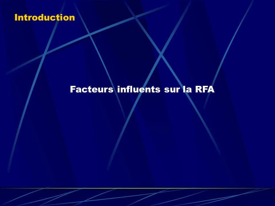 Facteurs influents sur la RFA Introduction
