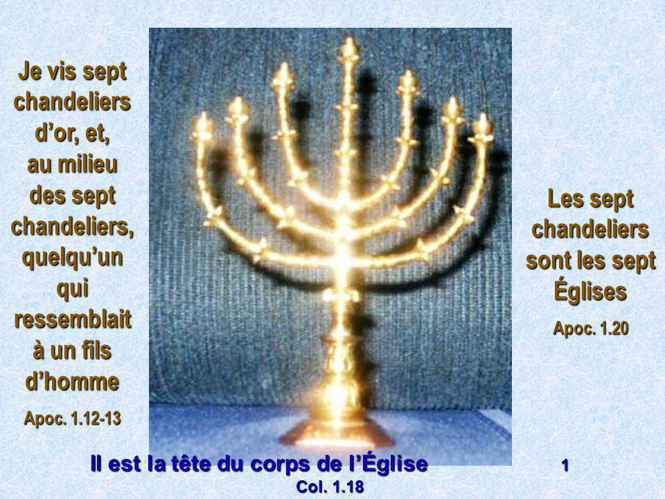 Je vis sept chandeliers dor, et, au milieu des sept chandeliers, quelquun qui ressemblait à un fils dhomme Apoc. 1.12-13 Les sept chandeliers sont les