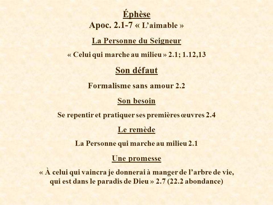 Éphèse Apoc. 2.1-7 « Laimable » La Personne du Seigneur « Celui qui marche au milieu » 2.1; 1.12,13 Son défaut Formalisme sans amour 2.2 Son besoin Se
