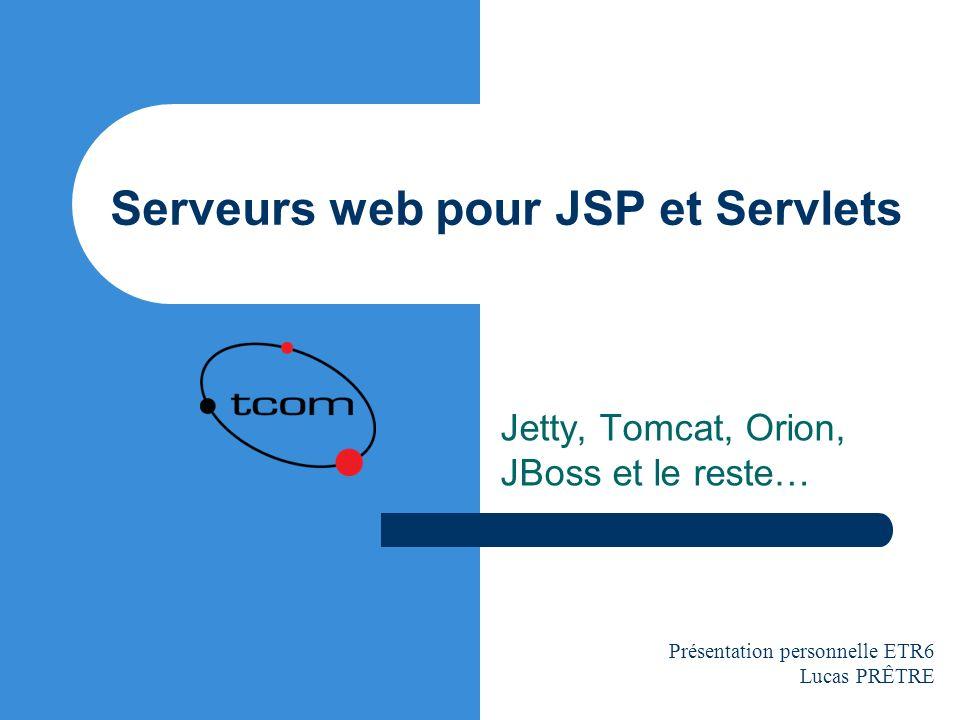 Lucas Prêtre / Juillet 2003 Serveurs web pour JSP et Servlets 12 Jetty Principales caractéristiques : – Servlets 2.3 et JSP 1.2, WAR et tag libs – Petit équilibreur (compensateur) de charge (load balancing) intégré – HTTPS en option