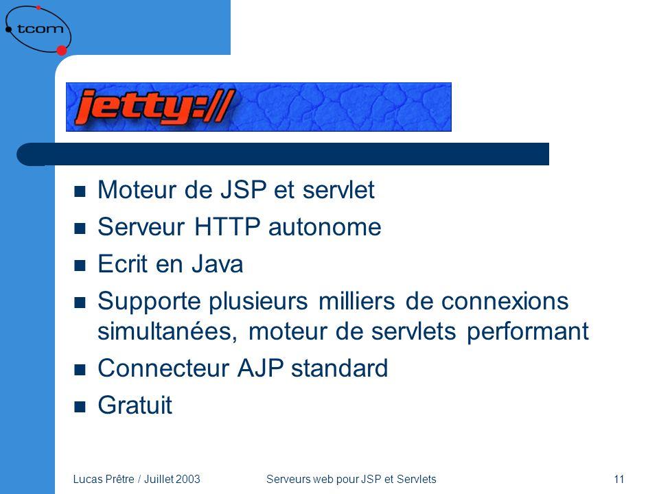 Lucas Prêtre / Juillet 2003 Serveurs web pour JSP et Servlets 11 Jetty Moteur de JSP et servlet Serveur HTTP autonome Ecrit en Java Supporte plusieurs