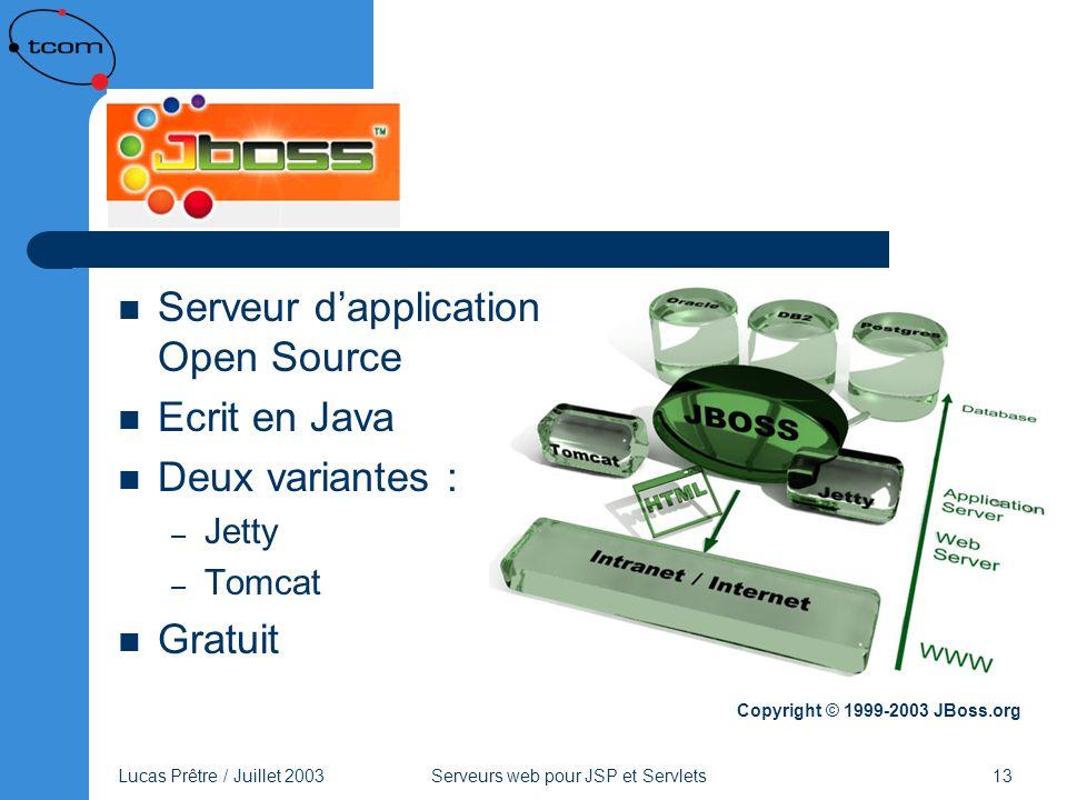 Lucas Prêtre / Juillet 2003 Serveurs web pour JSP et Servlets 13 JBoss Serveur dapplication Open Source Ecrit en Java Deux variantes : – Jetty – Tomca