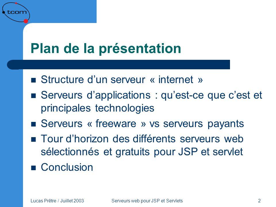 Lucas Prêtre / Juillet 2003 Serveurs web pour JSP et Servlets 2 Plan de la présentation Structure dun serveur « internet » Serveurs dapplications : qu