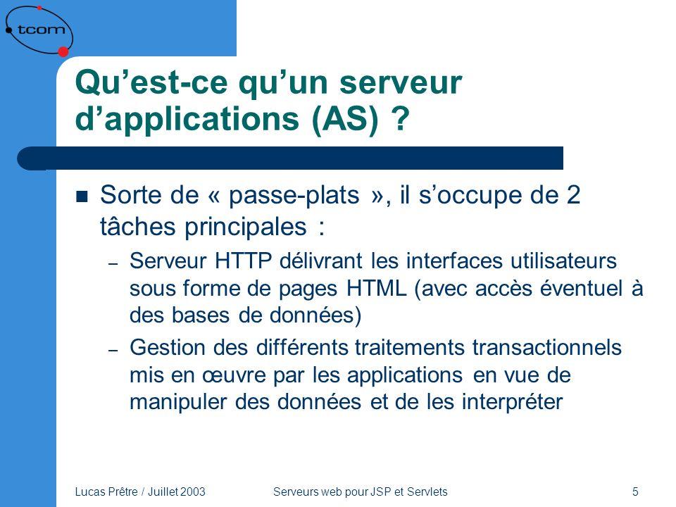 Lucas Prêtre / Juillet 2003 Serveurs web pour JSP et Servlets 5 Quest-ce quun serveur dapplications (AS) ? Sorte de « passe-plats », il soccupe de 2 t