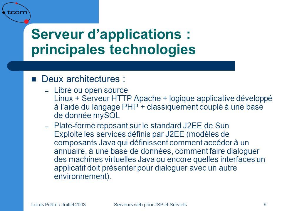 Lucas Prêtre / Juillet 2003 Serveurs web pour JSP et Servlets 17 Tomcat Moteur de JSP et servlet Serveur HTTP autonome Lensemble Apache Tomcat est moins performant quApache Connecteur AJP standard, on utilise ainsi le serveur Apache avec le moteur Tomcat séparé Gratuit