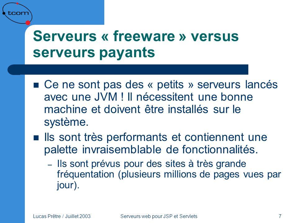 Lucas Prêtre / Juillet 2003 Serveurs web pour JSP et Servlets 18 Tomcat Principales caractéristiques : – Servlets 2.3 et JSP 1.2, taglibs – HTTPS en option