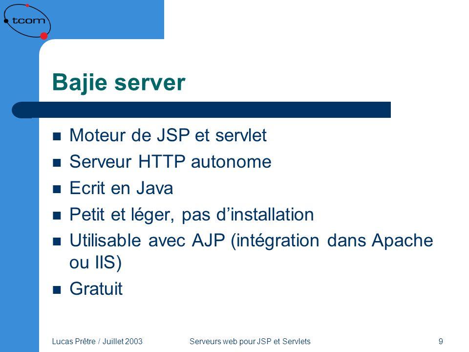 Lucas Prêtre / Juillet 2003 Serveurs web pour JSP et Servlets 10 Bajie server Principales caractéristiques : – Servlets 2.3 et JSP 1.2, WAR et tag libs – Debugger simple pour JSP / servlet – Servlet de configuration – Plusieurs répertoires de travail possibles – Facilité pour le développement de servlets : il suffit de déposer la servlet dans un répertoire reconnu par le serveur – HTTPS en option