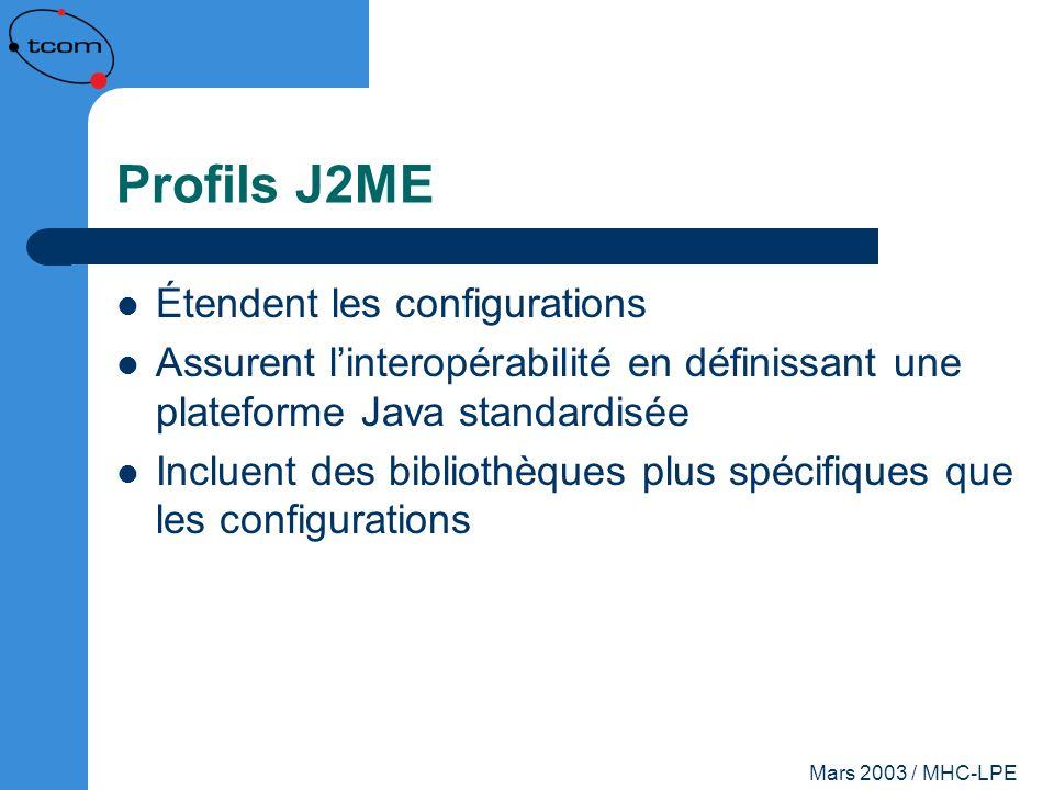 Mars 2003 / MHC-LPE Profils J2ME Étendent les configurations Assurent linteropérabilité en définissant une plateforme Java standardisée Incluent des b