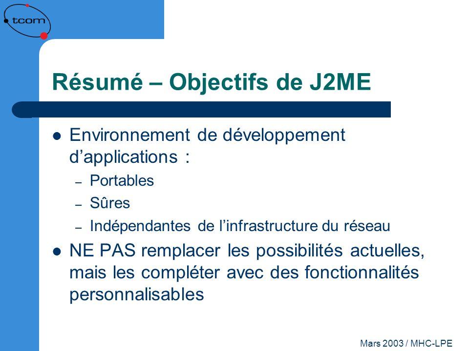 Mars 2003 / MHC-LPE Résumé – Objectifs de J2ME Environnement de développement dapplications : – Portables – Sûres – Indépendantes de linfrastructure d