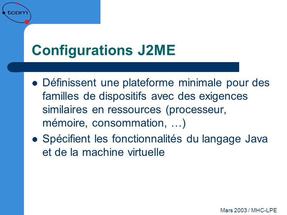 Mars 2003 / MHC-LPE Configurations J2ME Définissent une plateforme minimale pour des familles de dispositifs avec des exigences similaires en ressourc