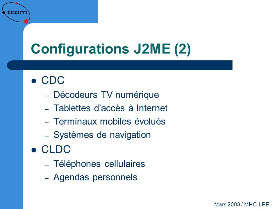 Mars 2003 / MHC-LPE Configurations J2ME (2) CDC – Décodeurs TV numérique – Tablettes daccès à Internet – Terminaux mobiles évolués – Systèmes de navig