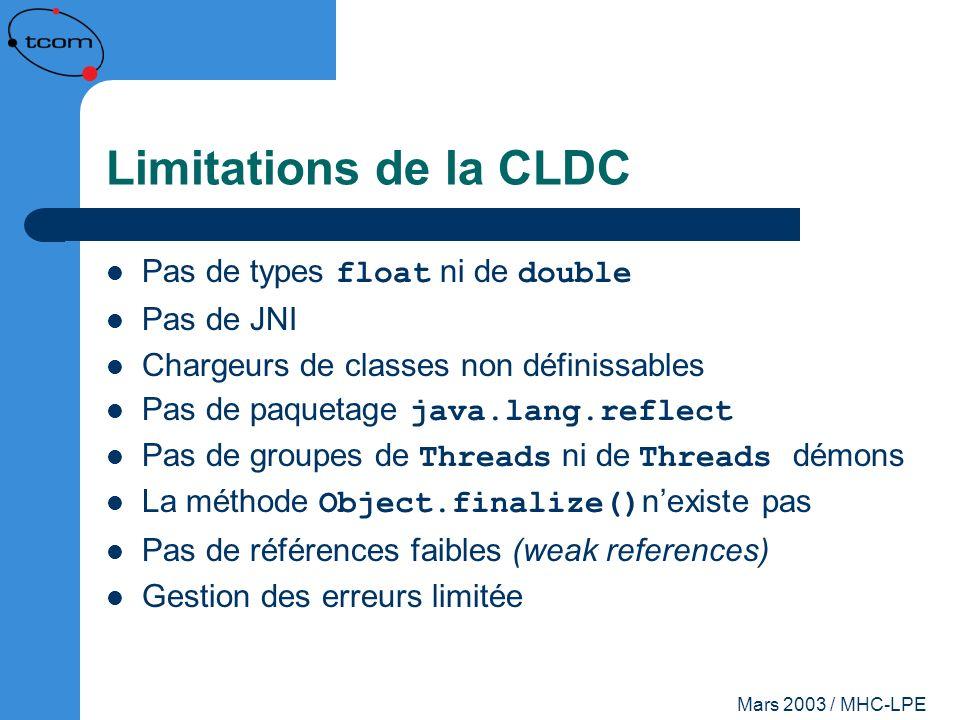 Mars 2003 / MHC-LPE Limitations de la CLDC Pas de types float ni de double Pas de JNI Chargeurs de classes non définissables Pas de paquetage java.lan