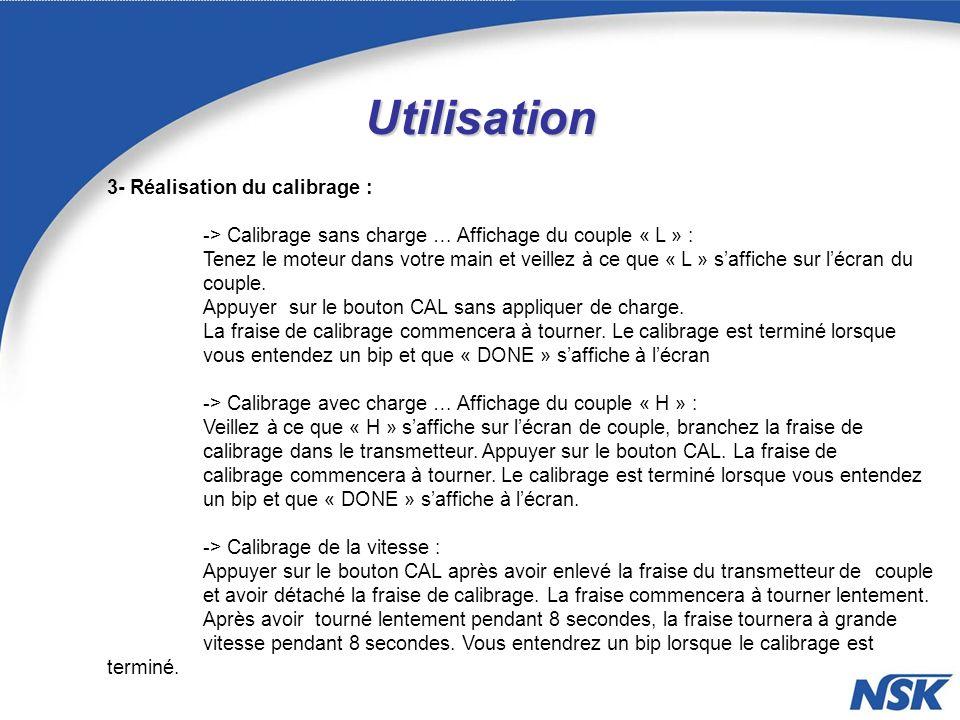 Utilisation 3- Réalisation du calibrage : -> Calibrage sans charge … Affichage du couple « L » : Tenez le moteur dans votre main et veillez à ce que « L » saffiche sur lécran du couple.