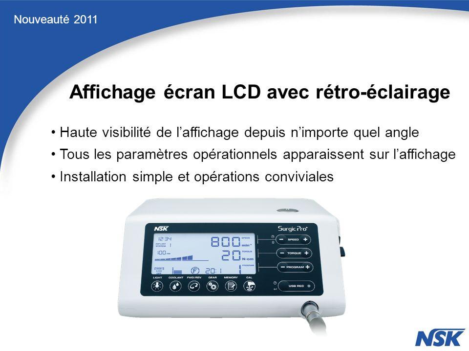 Affichage écran LCD avec rétro-éclairage Nouveauté 2011 Haute visibilité de laffichage depuis nimporte quel angle Installation simple et opérations conviviales Tous les paramètres opérationnels apparaissent sur laffichage