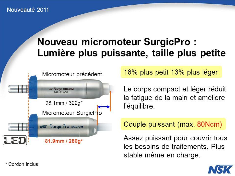 Nouveauté 2011 98.1mm / 322g* 81.9mm / 280g* Micromoteur précédent Micromoteur SurgicPro 16% plus petit 13% plus léger Le corps compact et léger réduit la fatigue de la main et améliore léquilibre.