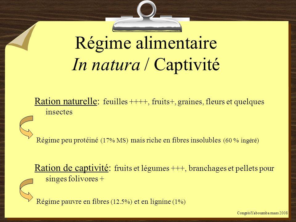 Régime alimentaire In natura / Captivité Ration naturelle: feuilles ++++, fruits+, graines, fleurs et quelques insectes Régime peu protéiné (17% MS) m