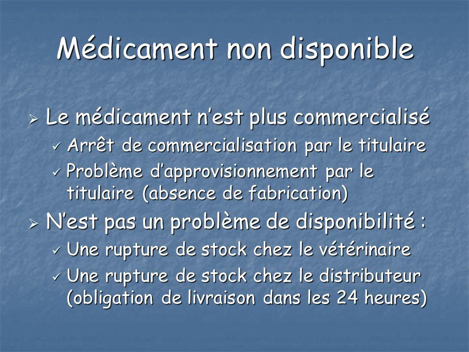 Médicament non disponible Le médicament nest plus commercialisé Le médicament nest plus commercialisé Arrêt de commercialisation par le titulaire Arrê