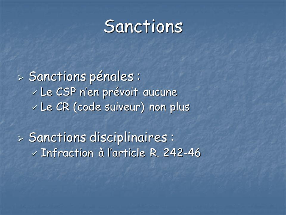 Sanctions Sanctions pénales : Sanctions pénales : Le CSP nen prévoit aucune Le CSP nen prévoit aucune Le CR (code suiveur) non plus Le CR (code suiveu
