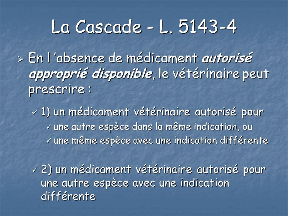 La Cascade - L. 5143-4 En l absence de médicament autorisé approprié disponible, le vétérinaire peut prescrire : En l absence de médicament autorisé a