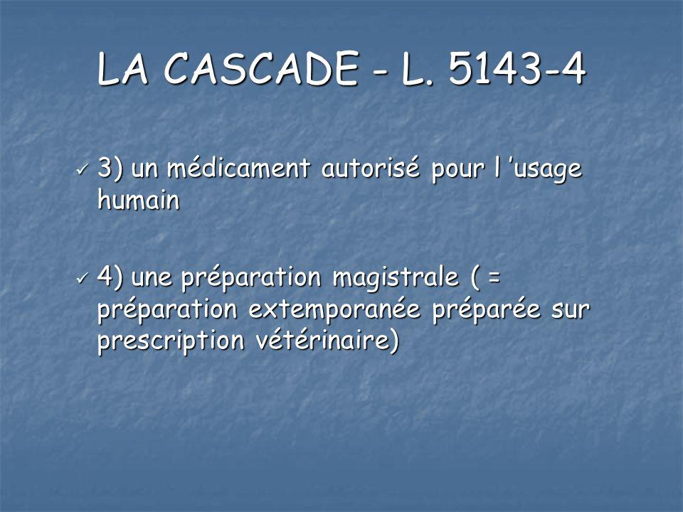 LA CASCADE - L. 5143-4 3) un médicament autorisé pour l usage humain 3) un médicament autorisé pour l usage humain 4) une préparation magistrale ( = p