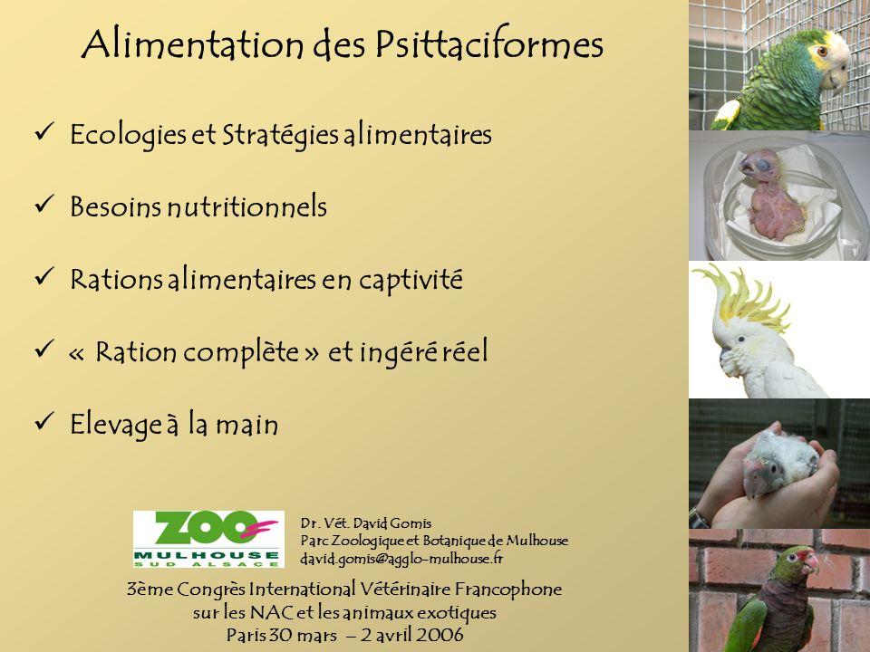 Alimentation des Psittaciformes Ecologies et Stratégies alimentaires Besoins nutritionnels Rations alimentaires en captivité « Ration complète » et in