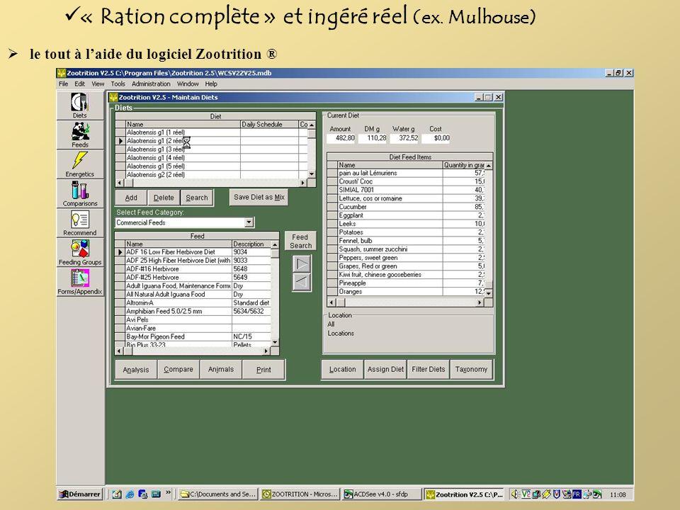 le tout à laide du logiciel Zootrition ® « Ration complète » et ingéré réel (ex. Mulhouse)