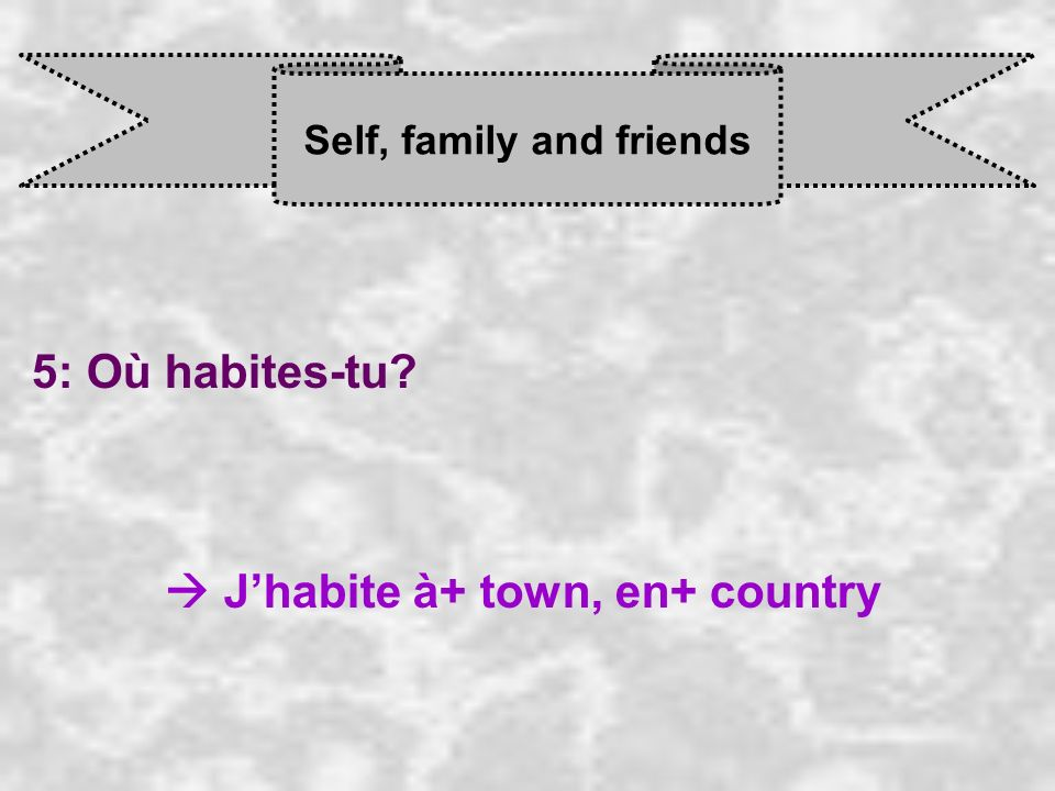 Self, family and friends 5: Où habites-tu J habite à+ town, en+ country