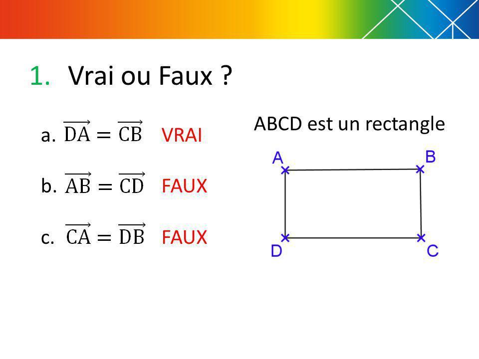 1.Vrai ou Faux ? ABCD est un rectangle a. b. c. VRAI FAUX